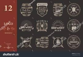 set wooden casks alcohol drinks emblems stock vector 371569609