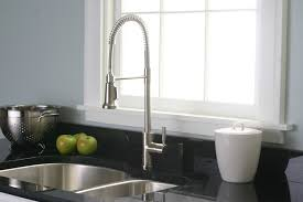 satin nickel industrial style kitchen faucet centerset two handle