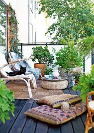 great outdoor patio with natural bohemian and ethnic decor