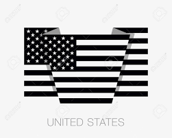 Country American Flag Black And White American Flag Flat Icon Wavering Flag With