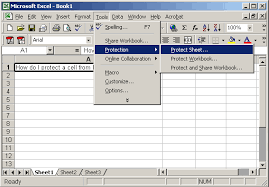 ms excel 2003 protect a cell