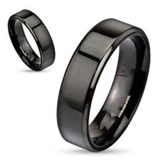 steel promise rings images Personalized black stainless steel name ring for men or women 6mm jpg