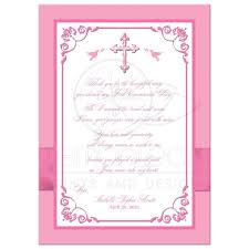 Invitation Card For Holy Communion First Holy Communion Photo Thank You Card Flat Pink White