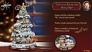 thomas kinkade wonderland express animated tabletop christmas tree