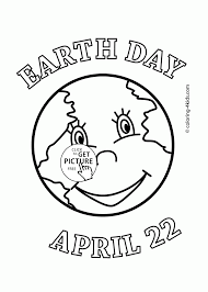 earth face earth day holiday coloring page for kids coloring