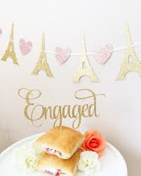 engaged cake topper glittery cursive cute party supplies