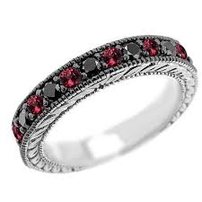 black ruby rings images Vintage style black diamond red ruby wedding ring band jpg
