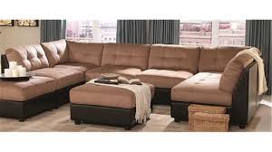 Microfiber Sectional Sofas Sectional Sofa With Button Tufted Design Brown Microfiber