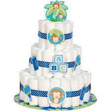 blue monkey baby shower diaper cake kit 25pc walmart com