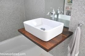Vanity For Bathroom Sink Diy Walnut Floating Shelf Sink Vanity House Updated