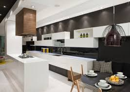 kitchen island black wall breakfast table contemporary townhome