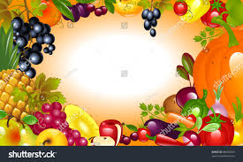 invitation thanksgiving vegetable fruit background stock vector