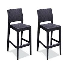 Patio Stack Chairs Shop Compamia Jamacia Wickerlook Set Of 2 Coffee Brown Resin