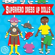 boy superhero dress up dolls free kids printable
