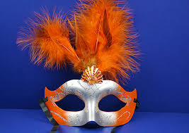 orange mardi gras orange mardi gras glitter feather masquerade masks pack of 12