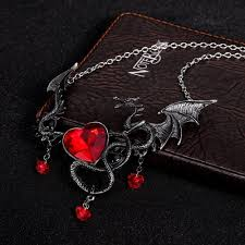 pendant necklace online images Buy crystal heart dragon pendant necklace at 50 off fantasy jpg