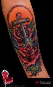 flower anchor rose tattoo by piranha tattoo studio