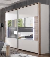 Sliding Door Bedroom Wardrobe Designs German Downtown White U0026 Oak 270cm Sliding Door Mirrored Wardrobe