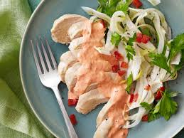 chicken with red pepper aioli and shaved fennel salad recipe