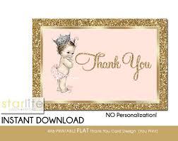 printable thank you cards princess printable baby girl shower thank you card baby princess crown