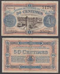 chambre de commerce du lot 50 centimes 1921 f vf condition banknote lot tres beau