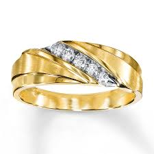 mens yellow gold wedding bands men s wedding band 1 4 ct tw diamonds 10k yellow gold