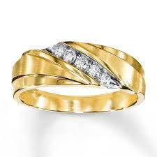 mens wedding bands gold men s wedding band 1 4 ct tw diamonds 10k yellow gold