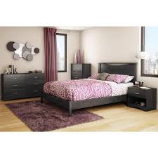 south shore step one size platform bed in gray oak 737203