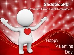 3d man with a red heart concept of love powerpoint templates ppt