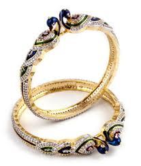 diamond studded jwells more american diamond studded bangles with peacock buy
