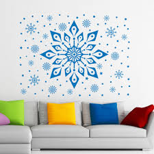 2017 christmas art vinyl wall stiker snowflake pattern frozen wall