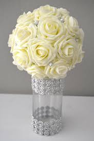 Vase With Pearls Ivory Real Touch Roses Flower Ball With Bling Pearl Brooch