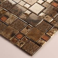 Stone And Glass Mosaic Sheets Square Tiles Emperador Dark Marble - Glass stone backsplash