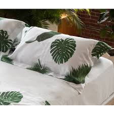 huddleson linens tropical leaves white linen pillowcases and