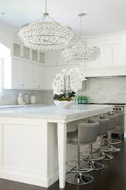 kitchen island with robert abbey bling chandeliers transitional
