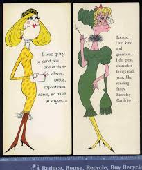 2 vintage retro vogue women funny greeting cards birthday old