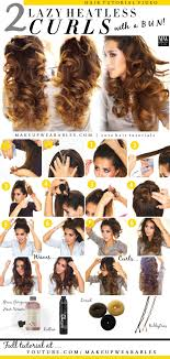 heatless hair styles 2 ways to lazy heatless curls using a bun overnight waves