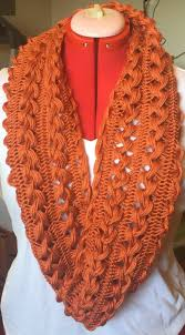 broomstick lace infinity scarf handmade hairpin lace infinity scarf size orange