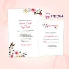 clean delicate vintage floral invitation and rsvp templates
