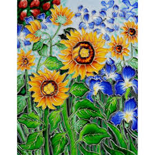 indoor outdoor tile murals tile the home depot van gogh sunflowers and irises trivet and wall accent 11 in x 14 in
