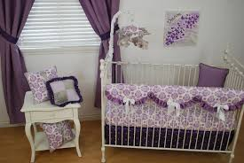 Lilac Damask Crib Bedding Lilac Damask Crib Bedding With Purple Ruffles And Drapes And
