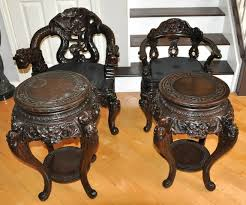 Oriental Chairs Set Of 4 Oriental Wood Carved Dragon Chairs And Tables Assamika