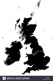 Ireland On Map Silhouette Map Of The United Kingdom And Ireland On White