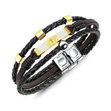 bracelet for opk multilayer cross bible bracelet for men brown leather gold