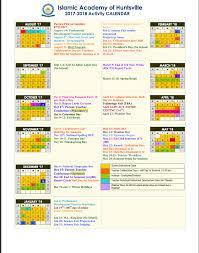 2018 Calendar Islamic Academic Calendar Iah