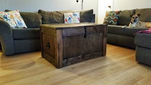 storage trunk coffee table one drawer and one door creamy oak