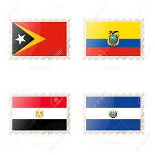 Flag El Salvador Postage Stamp With The Image Of East Timor Ecuador Egypt El