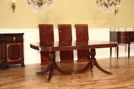 High End Dining Room Furniture American Made Traditional Double Pedestal Mahogany Dining Table