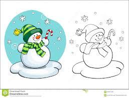 coloring book vector card concept cute snowman stock vector