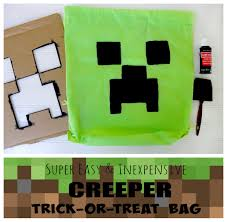 halloween treat bag craft easy diy minecraft creeper bag kerryannmorgan com
